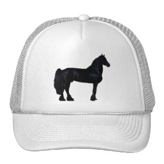Horse silhouette in black and white mesh hats