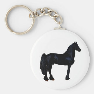 Horse silhouette in black and white keychain