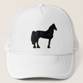 Horse silhouette in black and white trucker hat