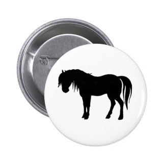Horse Silhouette in Black Button