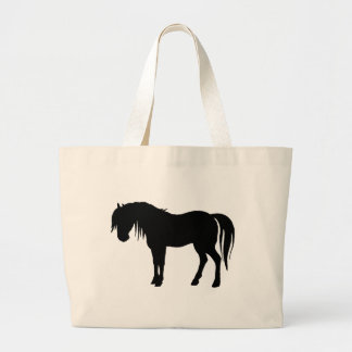 Horse Silhouette in Black Large Tote Bag