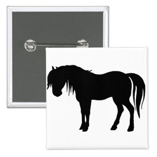 Horse Silhouette in Black Pinback Button