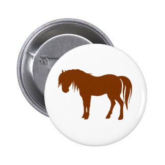 Horse Silhouette in Brown Button