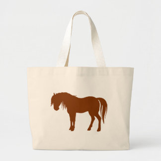 Horse Silhouette in Brown Large Tote Bag