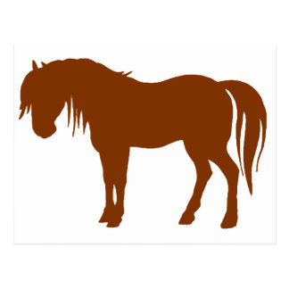 Horse Silhouette in Brown Postcard