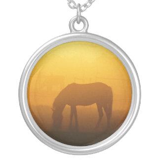 Horse Silhouette In Sunrise Necklace