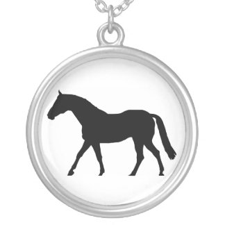 Horse Silhouette Round Pendant Necklace