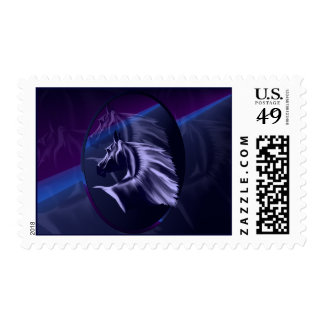 Horse Silhouette Shadowed Oval Postage