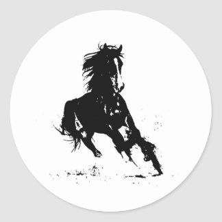 Horse Silhouette Round Stickers