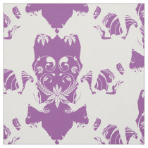 Horse silhouette white floral fabric