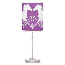 Horse silhouette white floral table lamp