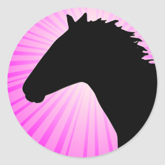 Horse Silhouette With Pink Sunrays Round Sticker