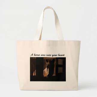 Horse Silhouetted in Barn Stall Large Tote Bag