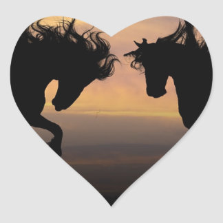 Horse Silhouettes at Sunset Heart Sticker