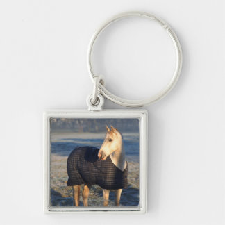 horse Silver-Colored square keychain