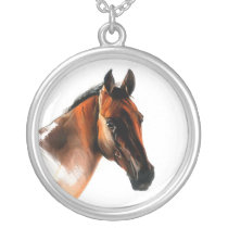 horse silver plated necklace