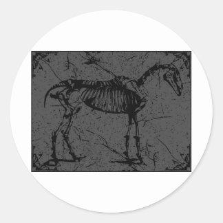 Horse Skeleton Gray Classic Round Sticker