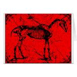 Horse skeleton red greeting cards