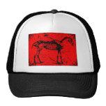 Horse skeleton red hat