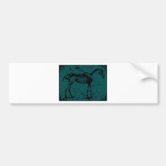 horse skeleton turquiose bumper sticker