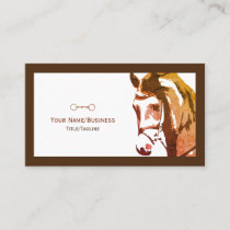 Horse Sketch and Snaffle Bit in Brown Business Card