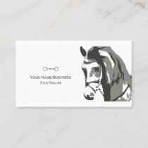 Horse Sketch and Snaffle Bit in Grey Business Card