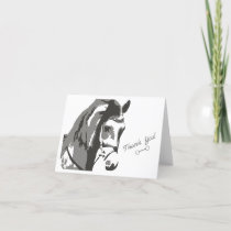 Horse Sketch and Snaffle Bit in Grey Thank You Card