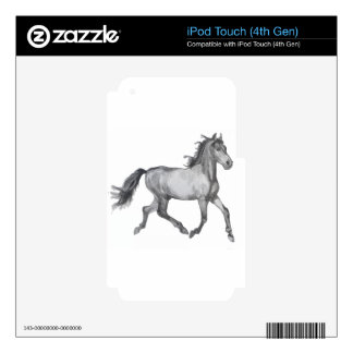 Horse Sketch Black And White Skin For iPod Touch 4G