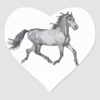 Horse Sketch Black And White Heart Sticker