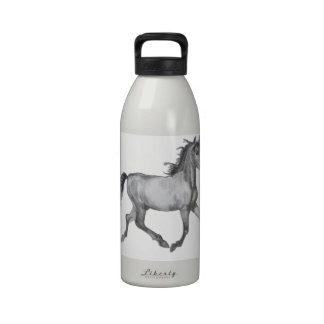 Horse Sketch Black And White Water Bottle