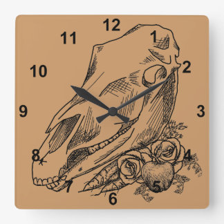 Horse Skull and Offerings to Epona Square Wall Clock