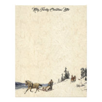 Horse Sleigh Family Christmas Letter Writing Paper