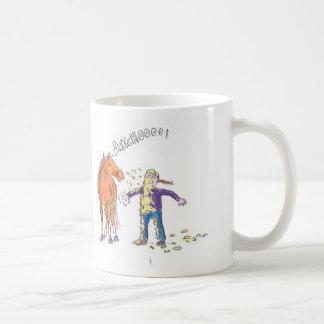 Horse sneezes classic white coffee mug
