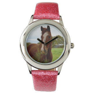 Horse_Sniff,_Girls_Pink_Glitter_Watch Wrist Watch