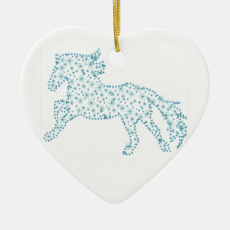 Horse snowflake new year  , white snowstorm ceramic ornament