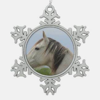 horse snowflake pewter christmas ornament