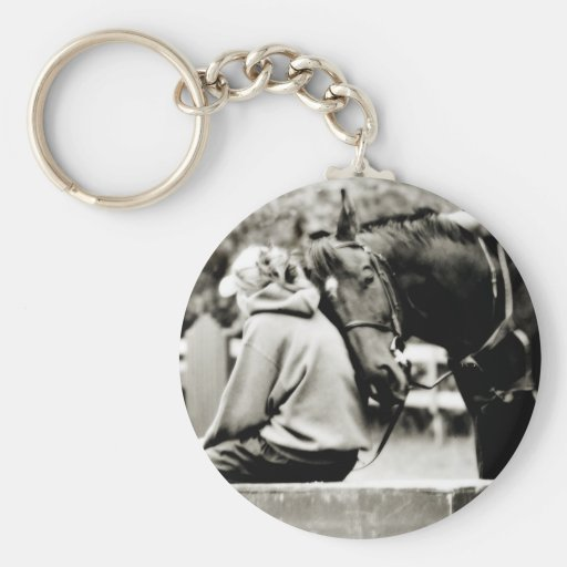 Horse Snuggles Basic Round Button Keychain