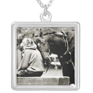 Horse Snuggles Square Pendant Necklace
