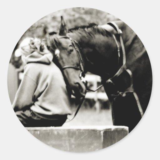 Horse Snuggles Round Sticker