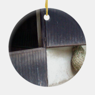 Horse Stable Door Double-Sided Ceramic Round Christmas Ornament