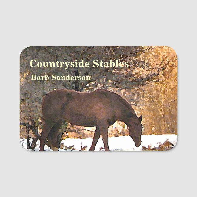 Horse Stables, Boarding and Riding School Name Tag