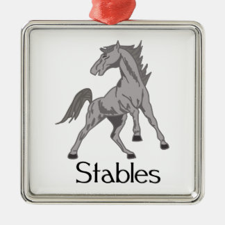 Horse Stables Square Metal Christmas Ornament