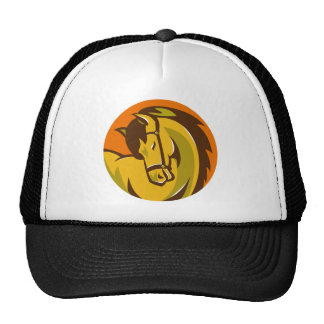 horse stallion head retro trucker hat
