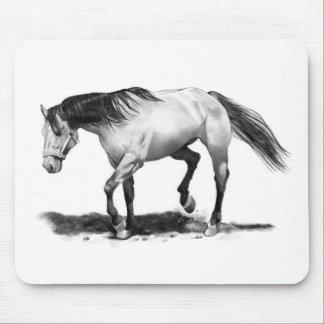 HORSE, STALLION, PENCIL ART REALISM MOUSE PAD