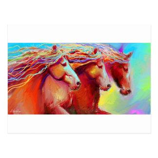 horse stampede paintingnovikova postcard