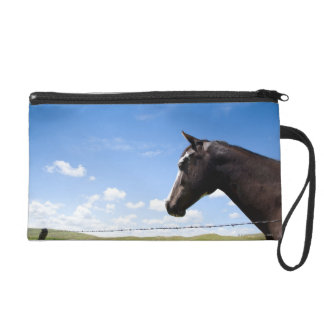 Horse standing at fence in pasture wristlet purse