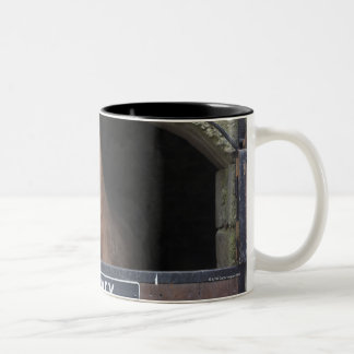 Horse standing looking out of its stable Two-Tone coffee mug
