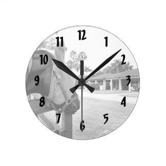 horse staring at barn bw c.jpg round clock