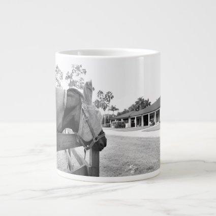 horse staring at barn bw extra large mugs