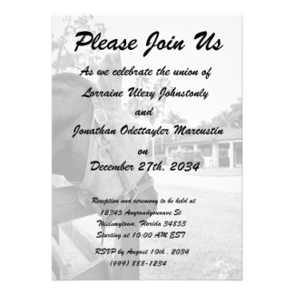 horse staring at barn bw personalized invite